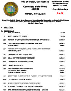 Icon of Committee Of The Whole 07-26-21 Agenda