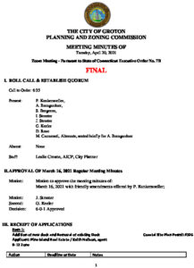 Icon of Planning & Zoning Commission Minutes 04-20-21 FINAL
