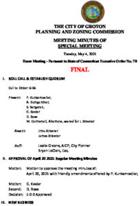 Icon of Planning & Zoning Commission Minutes 05-04-21 FINAL