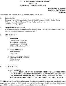 Icon of City of Groton Retirement Board 2-23-12